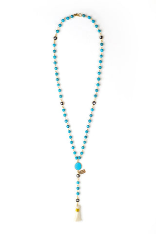 HAUS OF TOPPER Rose Lariat Necklace Accessories | Turquoise|