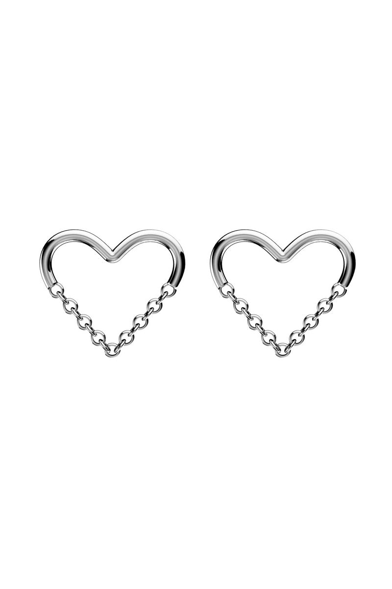 Love Chain Stud Earrings - Silver