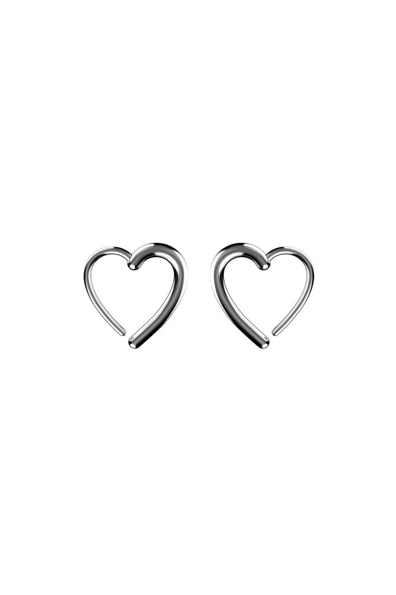 Heart Hook Earrings - Silver