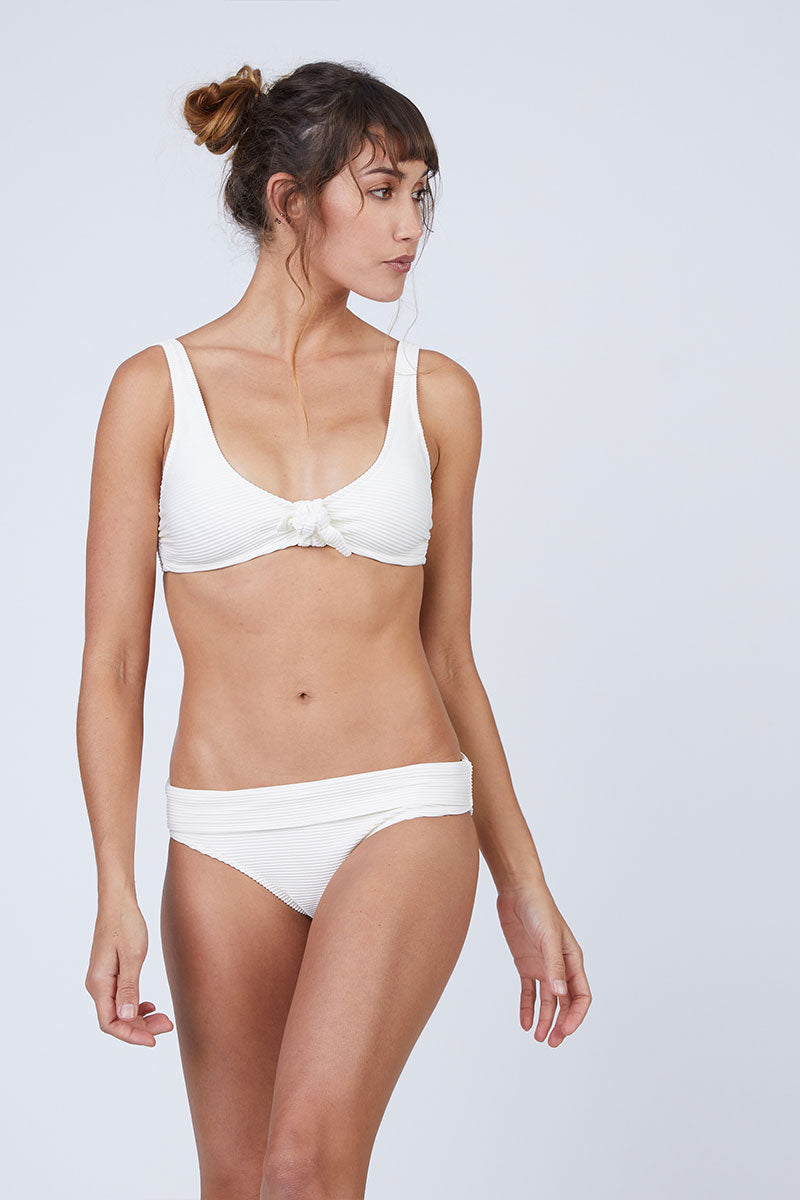 Ribbed Front Knot Bikini Top - Cream White