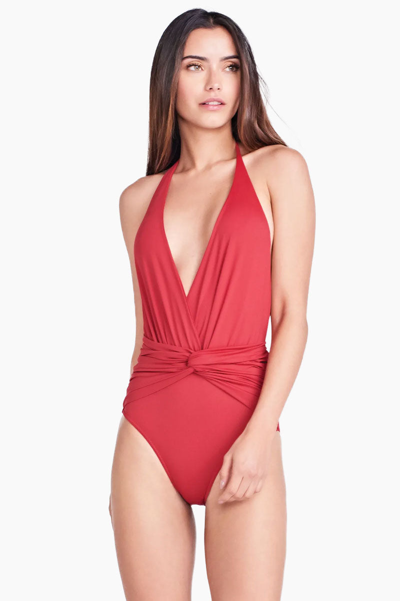 Helena Halter Front Knot One Piece Swimsuit - Imperial Red