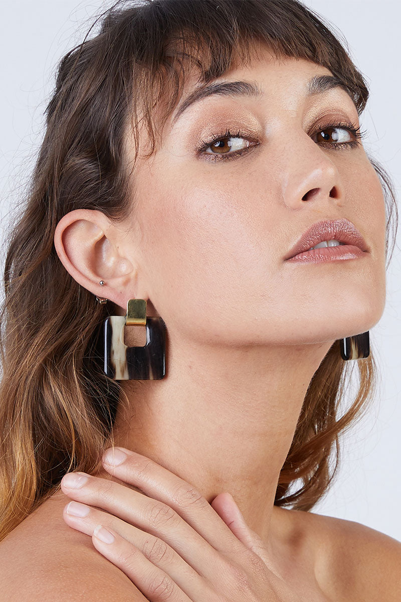 Horn Door Knocker Earrings - Brass/Black