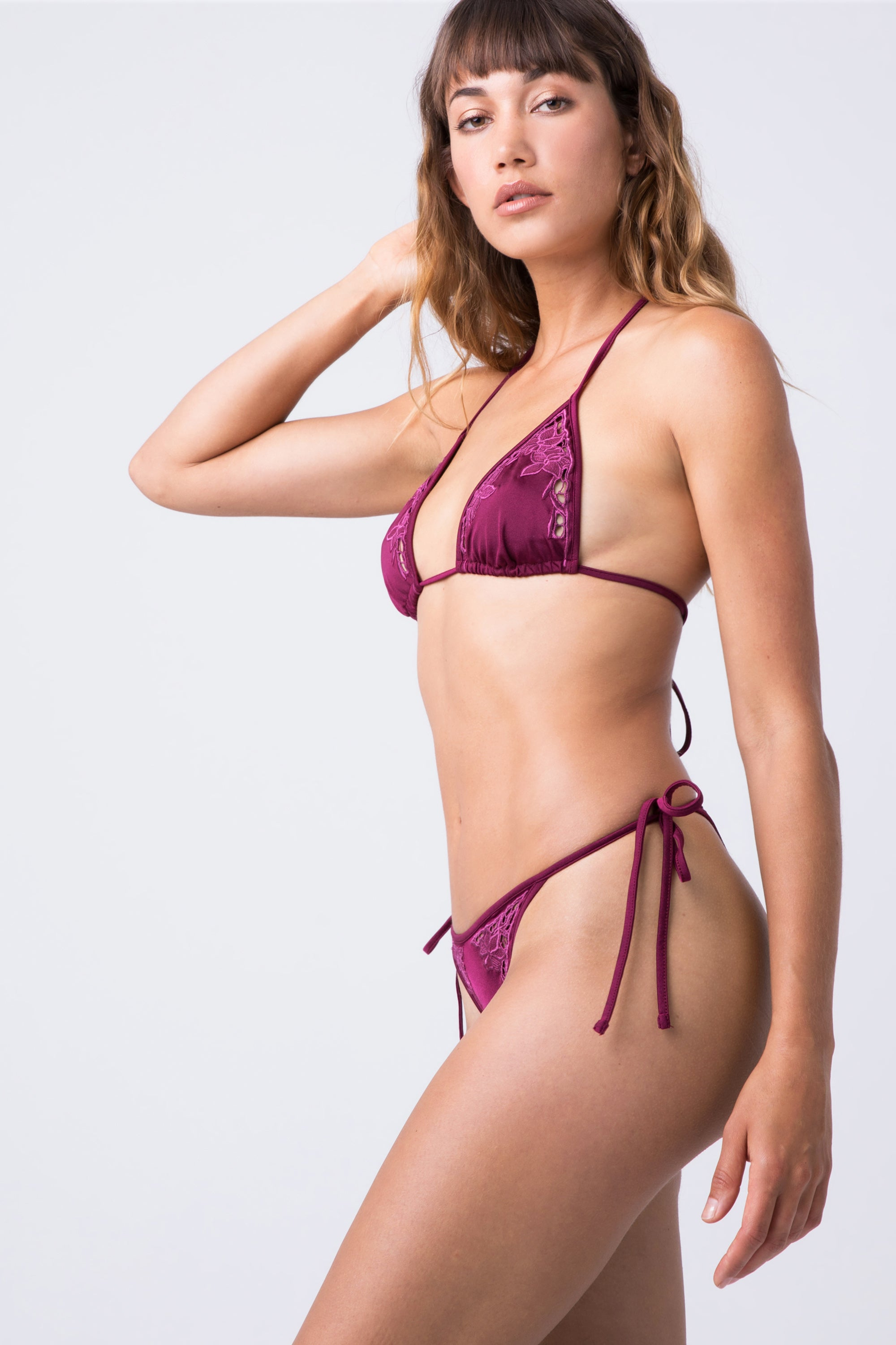Lewis Lace Tie Side Bikini Bottom - Bordeaux Wine Red