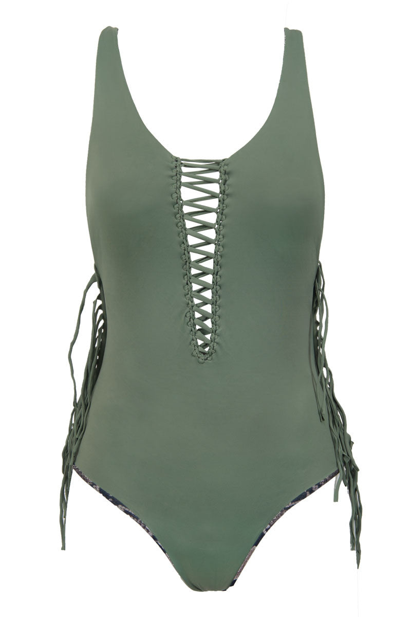 Margaux Reversible Fringe Lace Up One Piece Swimsuit - Army Green/Grey Snakeskin Print