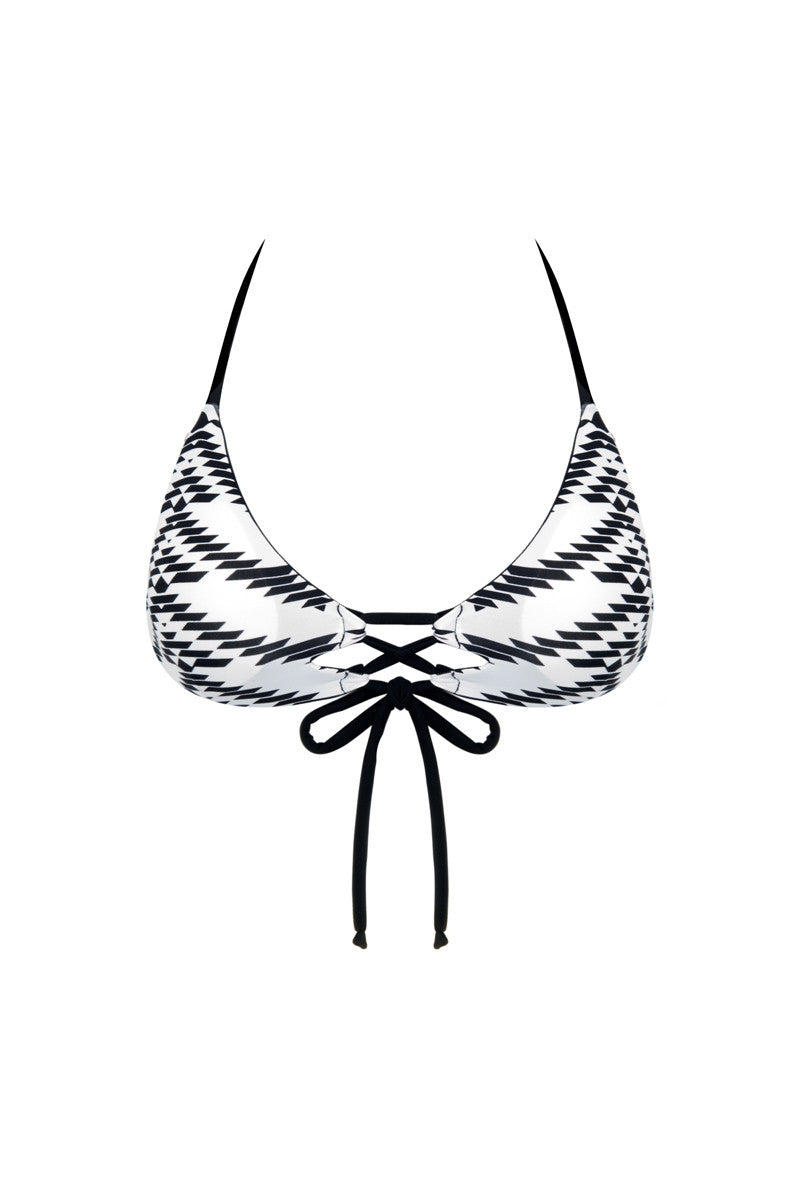 KHONGBOON Indre Top Bikini Top | Black and White/Black|