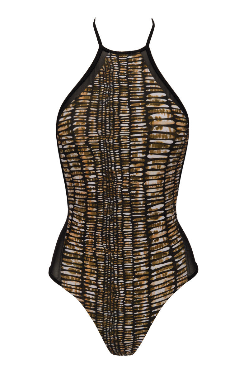Brooklyn Mesh High Neck One Piece Swimsuit - Brown Pebble Print