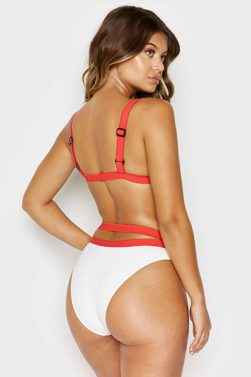 Kiki Ribbed Buckle Belted Bikini Bottom - White/Red