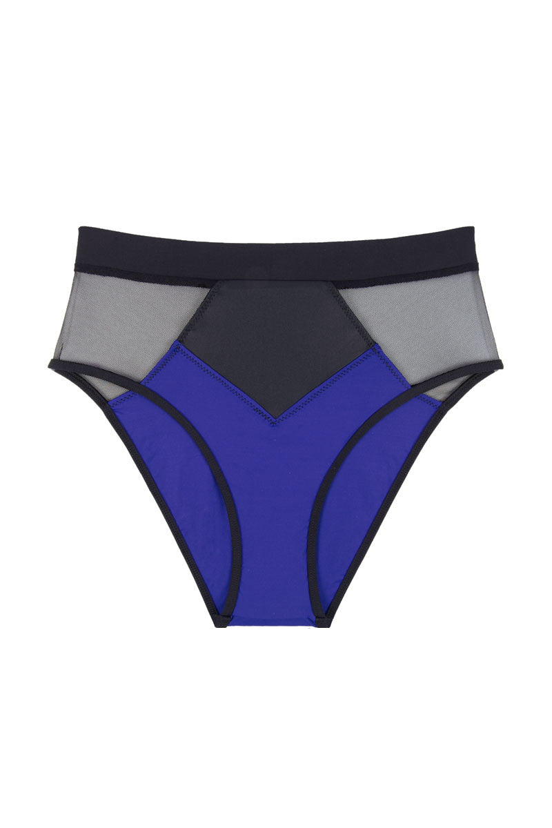 Pyramid Mesh Color Block High Waist Bikini Bottom  - Ultraviolet Blue/Black