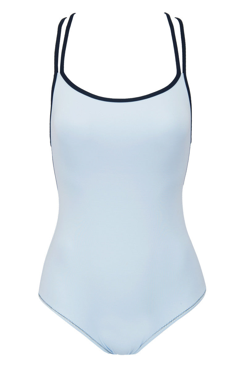 Enyo Color Block Open Back One Piece Swimsuit - Frosty Blue/Black