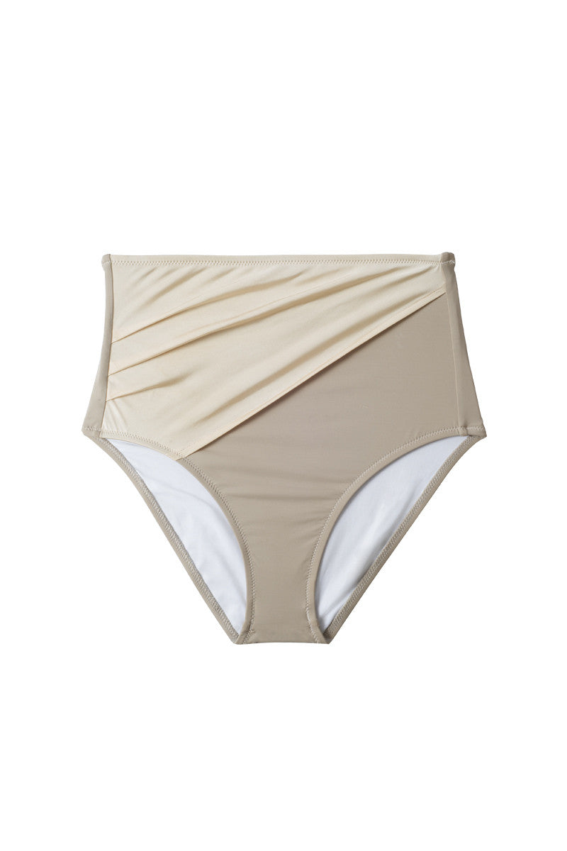Alexa Color Block High Waist Bikini Bottom - French Vanilla White/Latte Brown