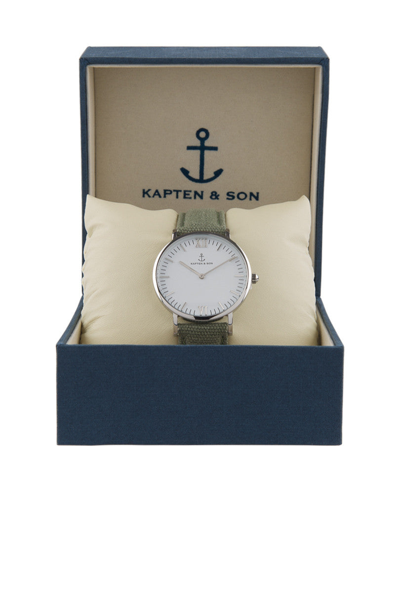 KAPTEN AND SON Olive Canvas Watch Accessories | Olive| Kapten & Son Olive Canvas Watch