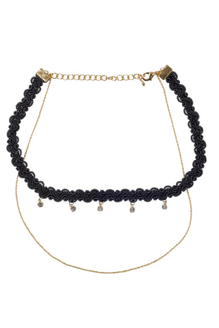 BIKINI.COM Double Layer Choker Jewelry | Black/Gold|