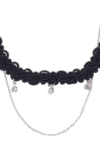 BIKINI.COM Double Layer Choker Jewelry | Black/Silver|
