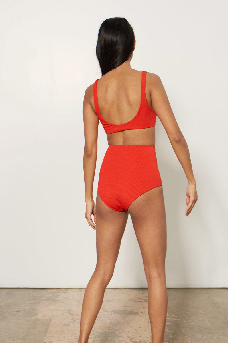 Lydia High Waisted Bikini Bottom - Red