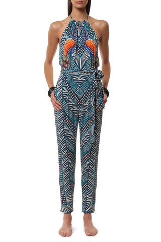 MARA HOFFMAN Peacock Jumpsuit Cover Up | Green Peacock Print|