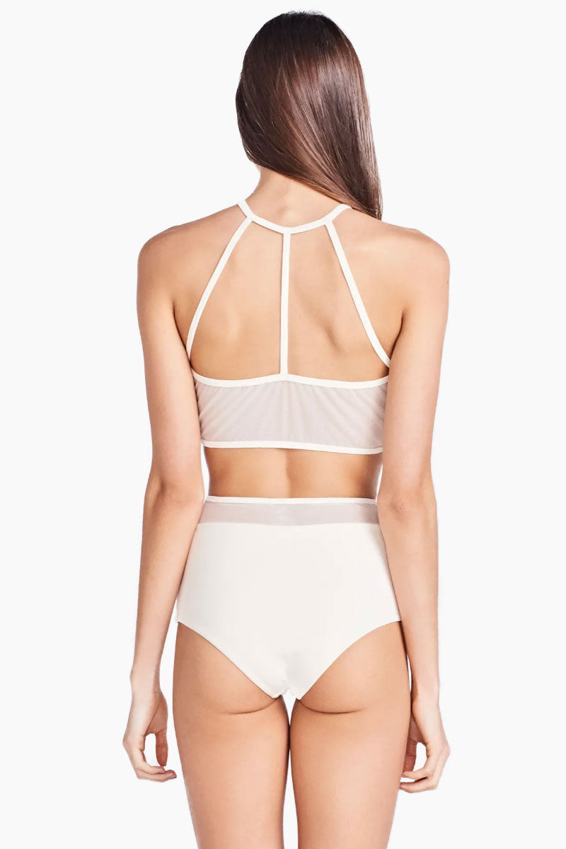 Hot Thais Mesh High Waist Bikini Bottom - Off White