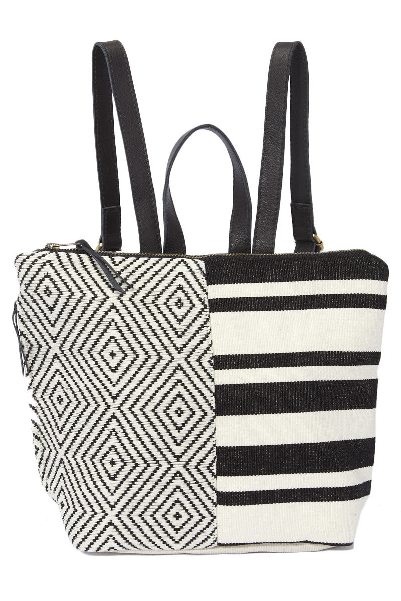 Mini Lorena Backpack - Black Striped