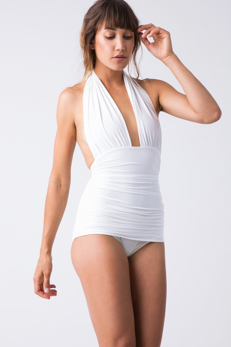 Halter Bill One Piece Swimsuit - White