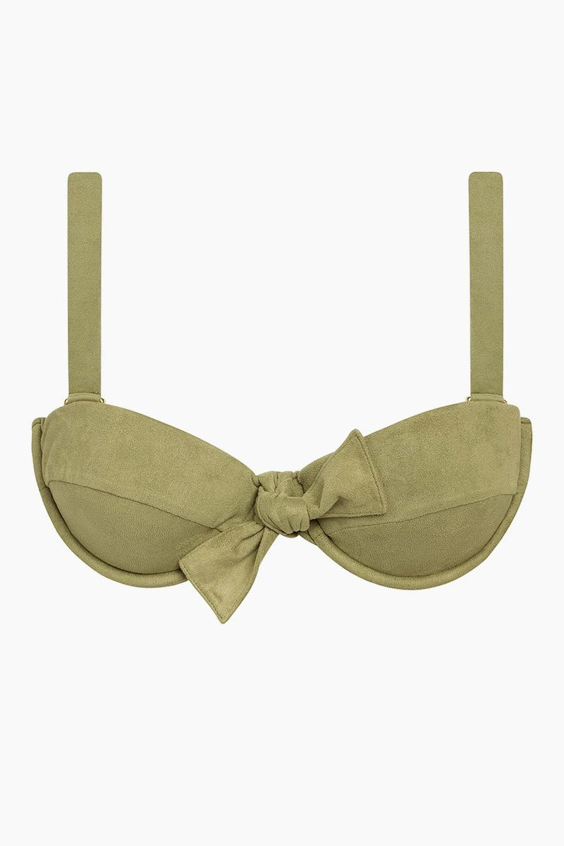 Bow Suede Bustier Bikini Top - Olive Green