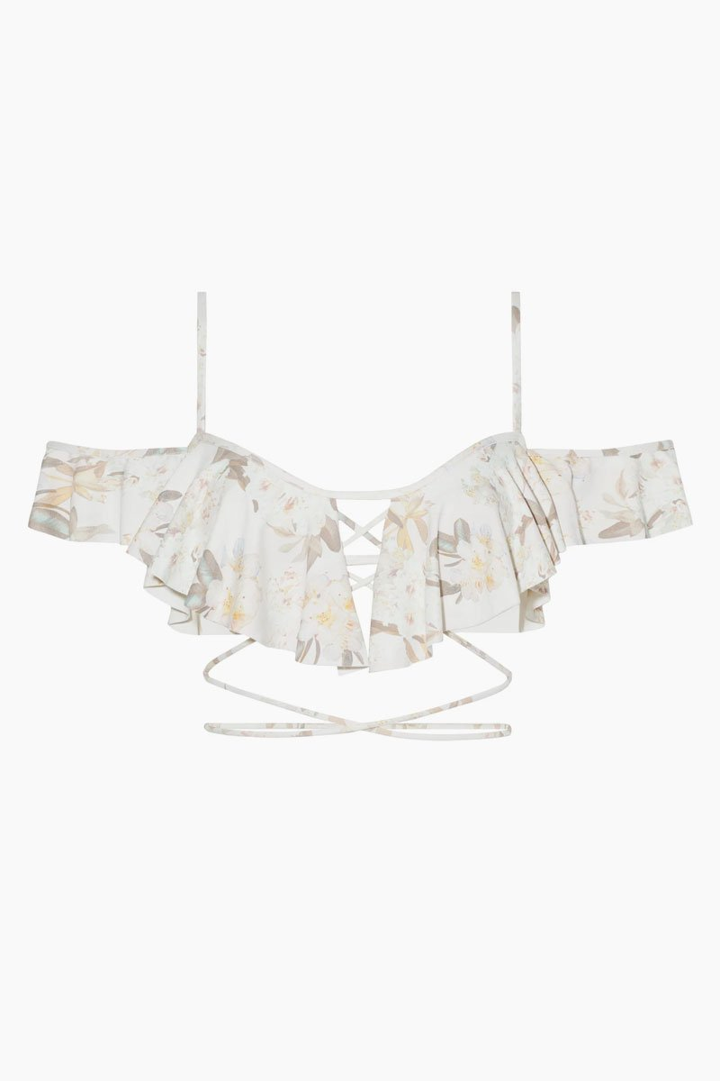 Caletta Ruffle Off Shoulder Bikini Top - Été White Floral Print