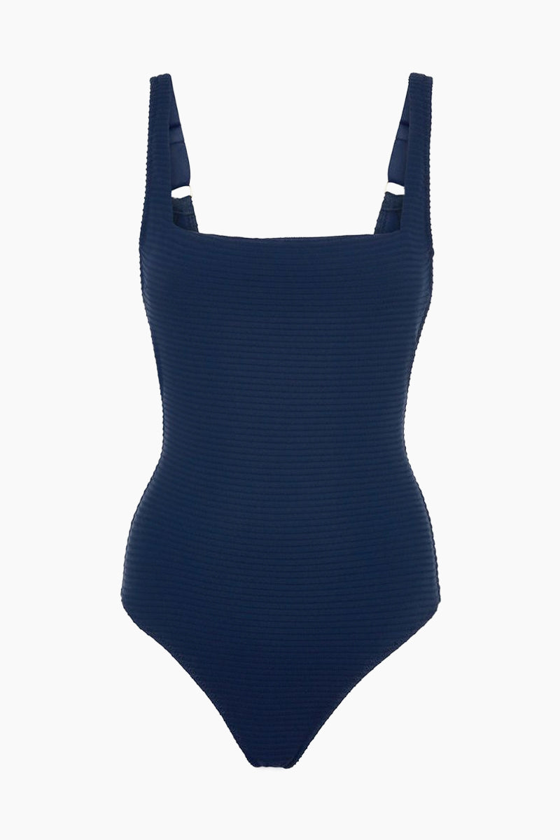 Lace Back One Piece Swimsuit - Navy