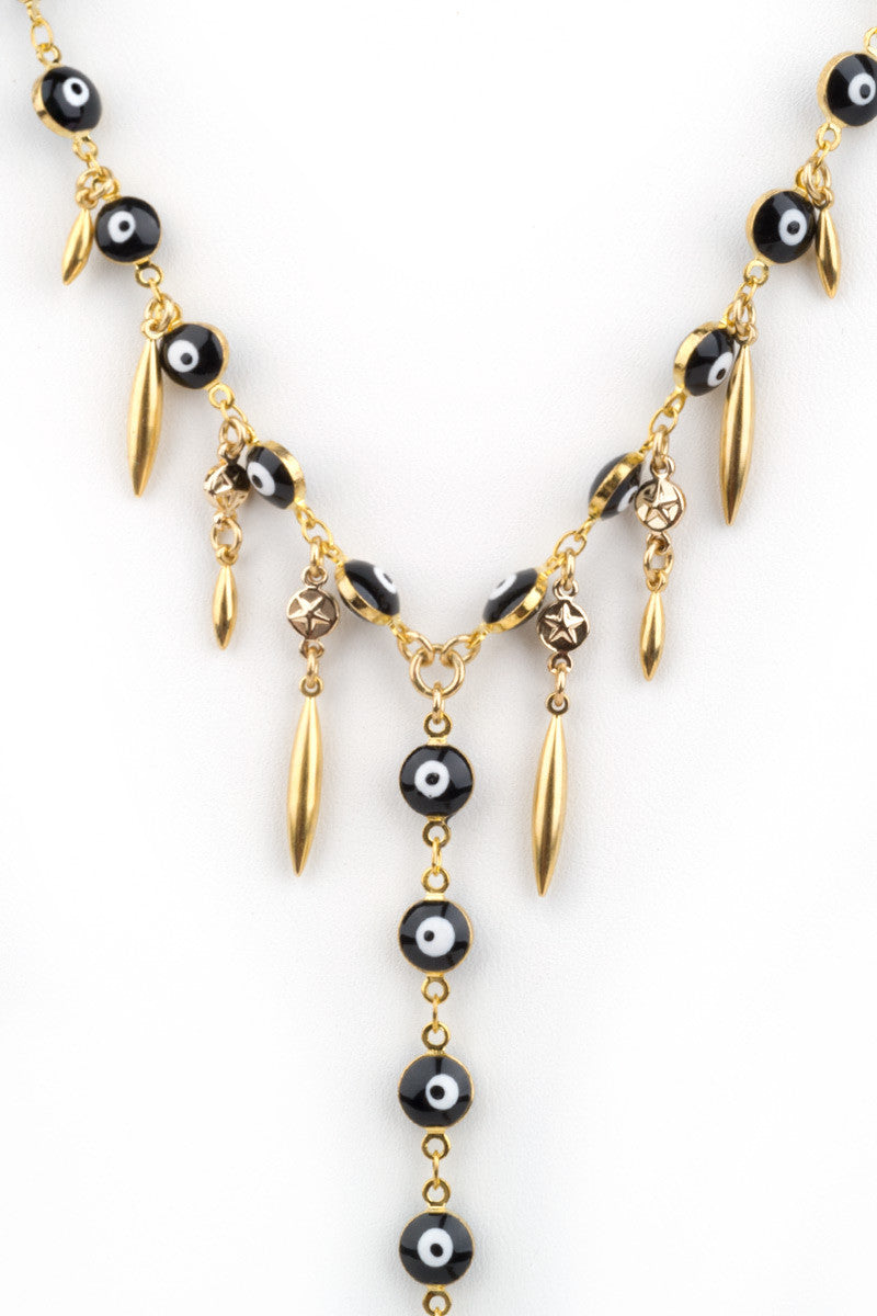HAUS OF TOPPER Evil Eye Body Chain Jewelry | Black & Gold|