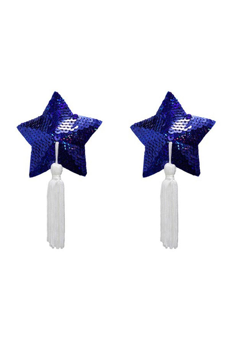 Gold Couture Betsy Star Tassels - Royal Blue Sequin