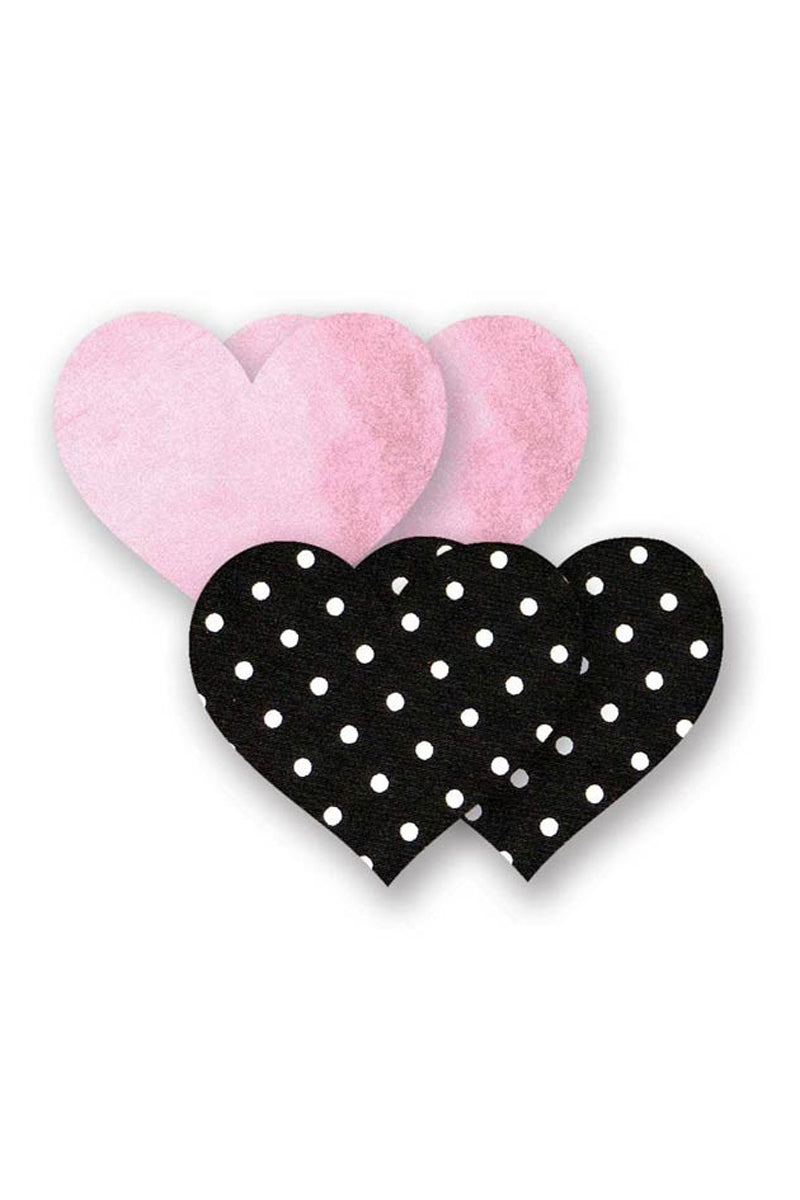 Pretty In Pink Heart - Pink & Black Polka Dot Print