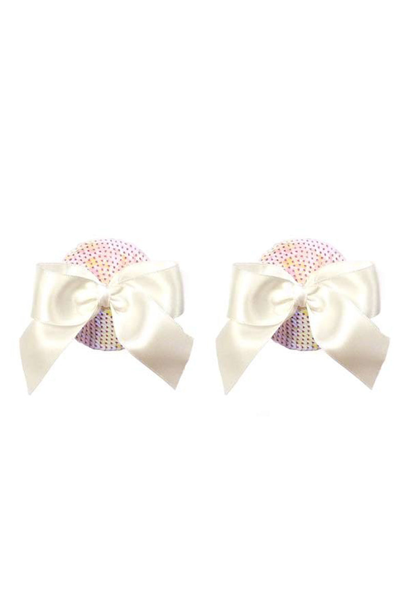 Gold Couture The Marilyn Bow Tassels - White Iridescent Sequin