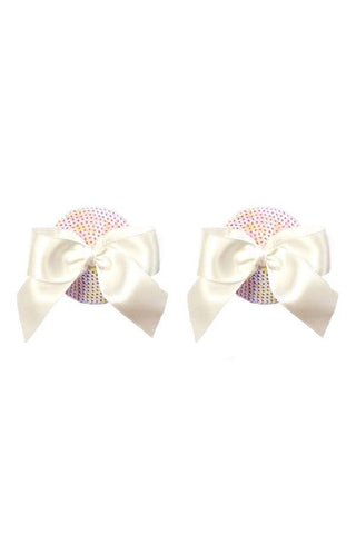 BRISTOLS SIX Gold Couture The Marilyn Bow Tassels - White Iridescent Sequin Accessories | White Iridescent Sequin| Gold Couture The Marilyn Bow Tassels - White Iridescent Sequin  Out Of The Box View
