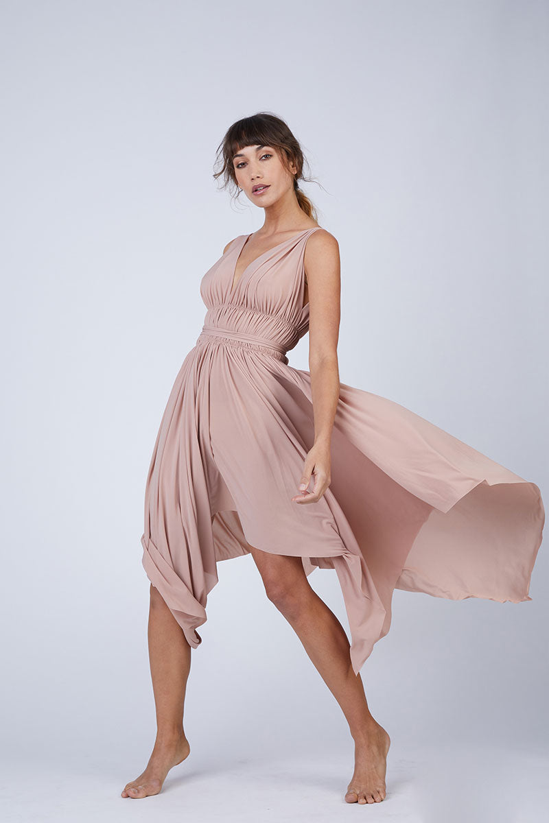 Goddess Asymmetric Midi Dress - Rose Pink