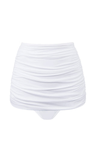 NORMA KAMALI Bill High Waist Bikini Bottom - White Bikini Bottom | White| NORMA KAMALI Bill High Waist Bikini Bottom - White. Flat Lay View. Elegant white high-waisted bikini bottom in luxe ruched swim jersey fabric. All-over shirring and fully ruched hips sculpt and flatter your figure. Retro high waist smoothes your tummy and sculpts an hourglass shape. Underlayer of nylon spandex jersey acts as a base and gives you a brilliant form.