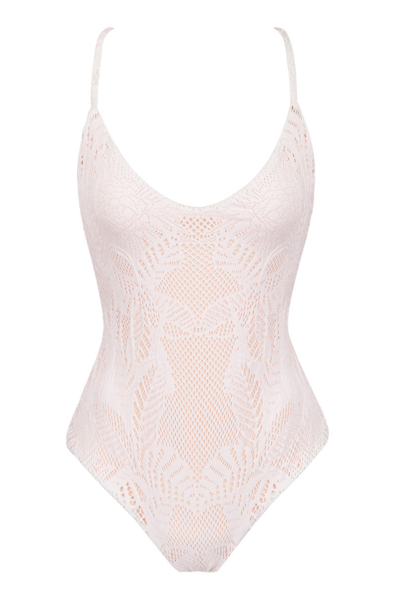 Low Rise Back One Piece - White Floral Jacquard