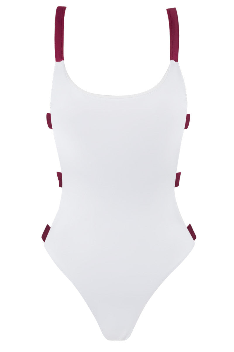 Shadey Color Block Strappy Back One Piece Swimsuit - White & Merlot Red