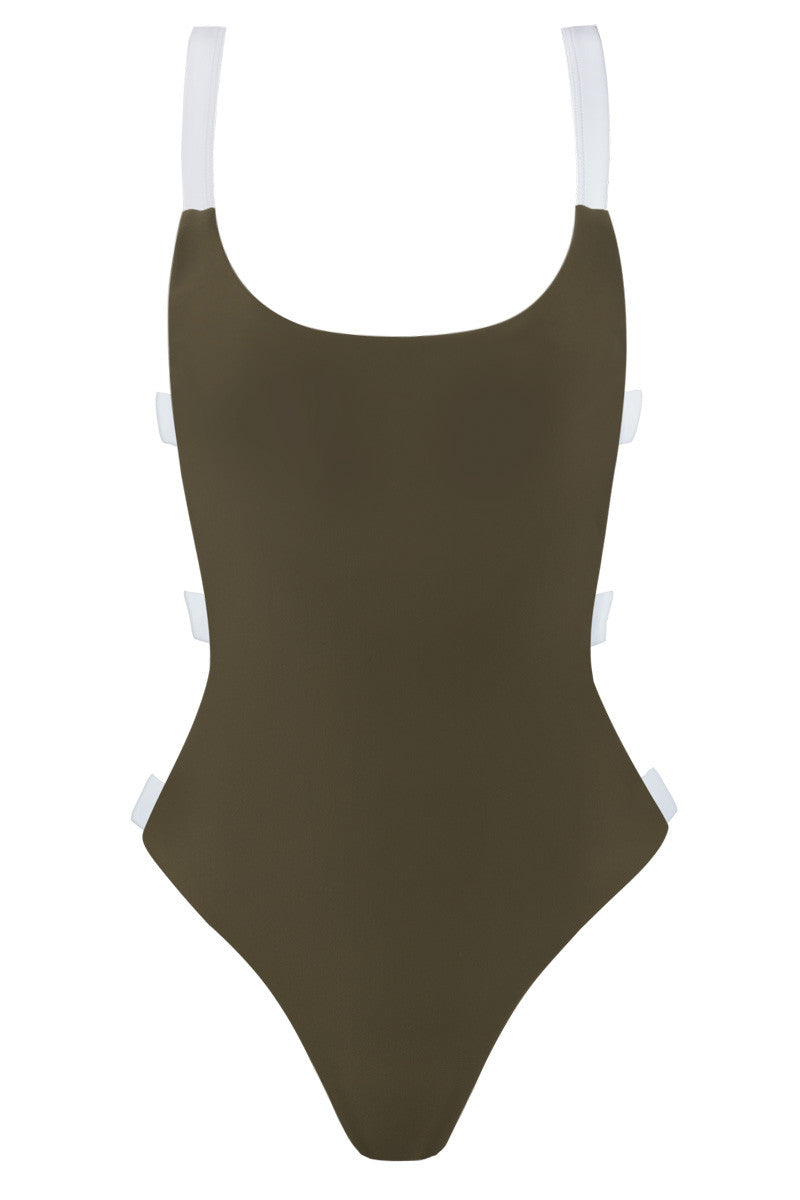 Street Cred Color Block Strappy Back One Piece Swimsuit - Olive Green & White
