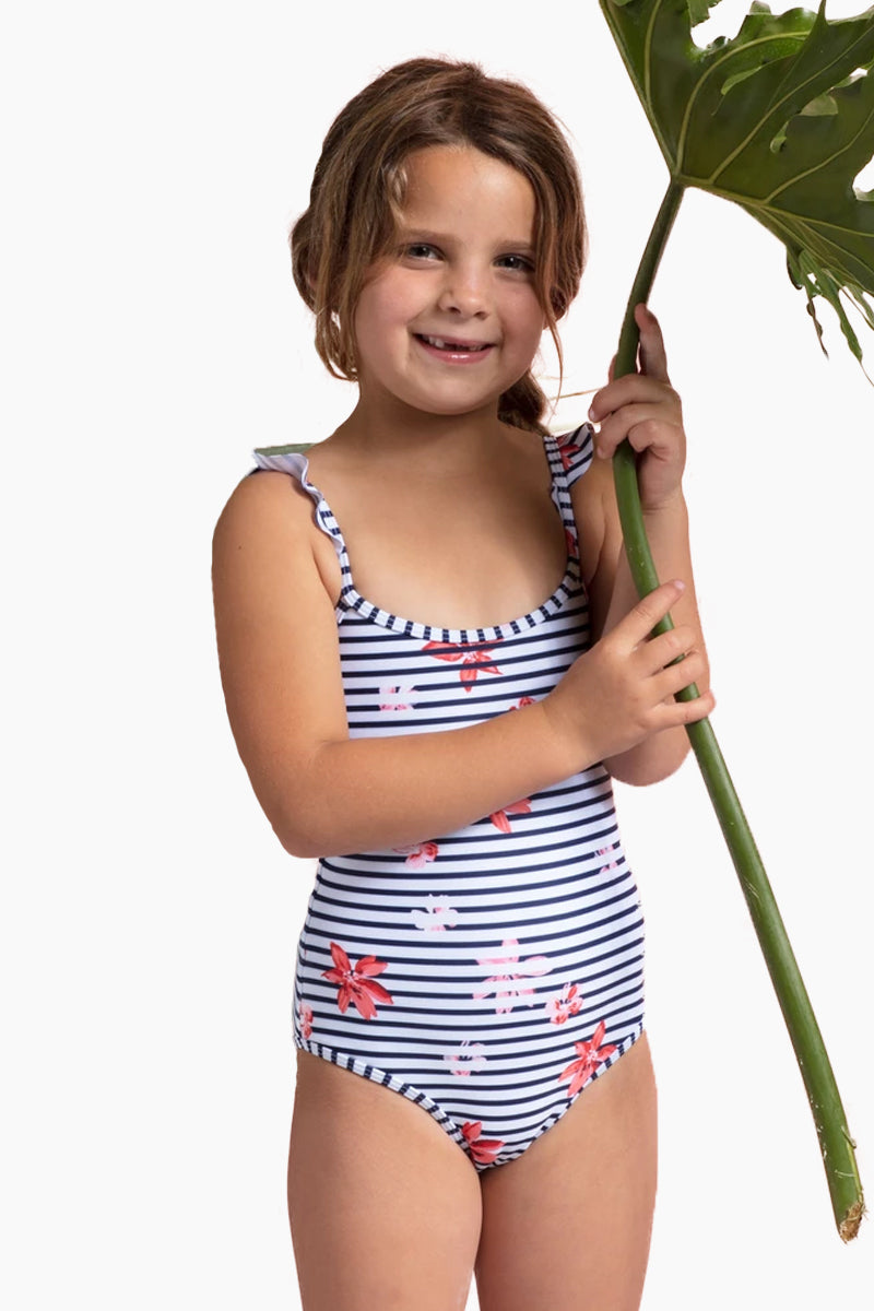 Katie Shoulder Ruffles One Piece Swimsuit (Kids) - Floral Bay Stripe Print