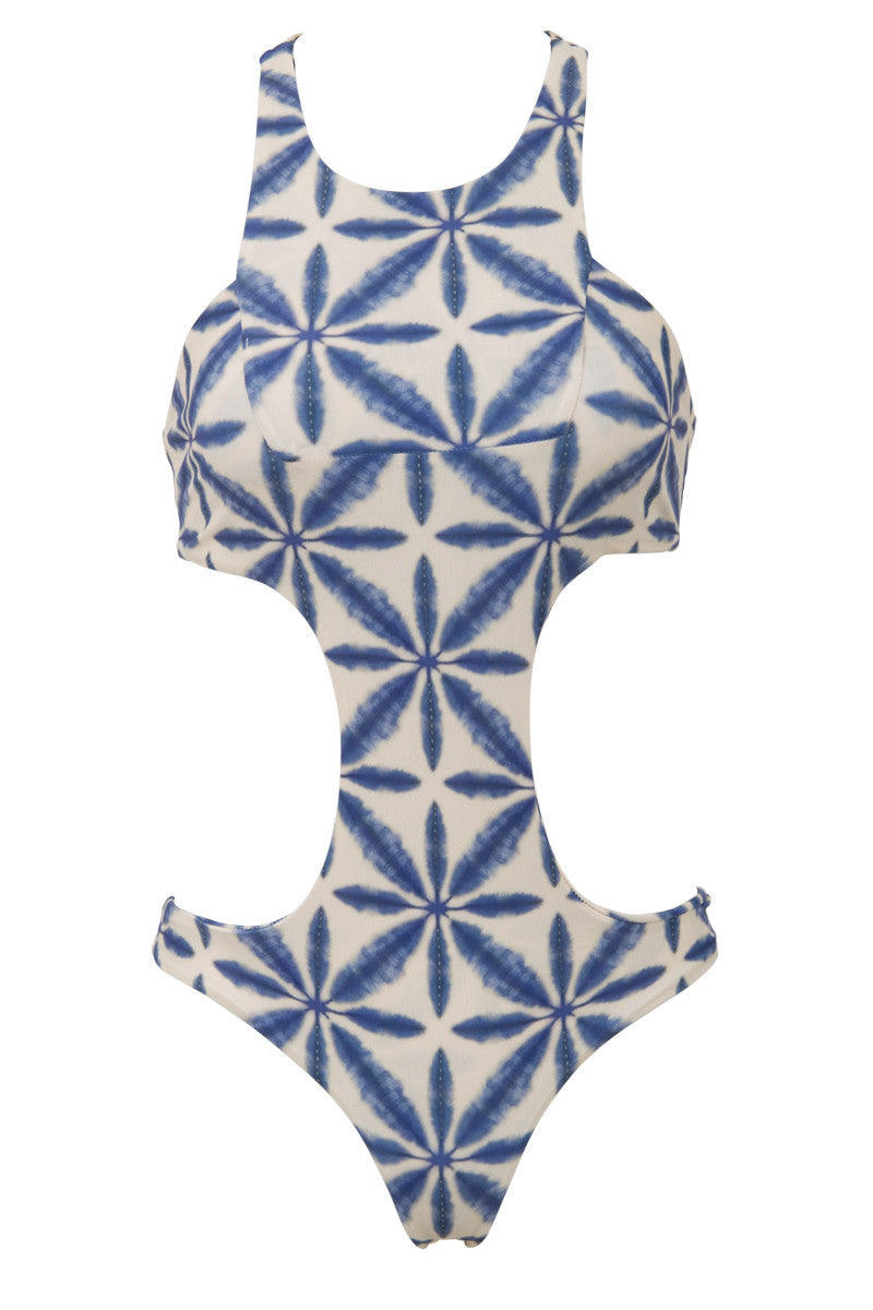 La Jolla Sporty Monokini One Piece Swimsuit - Ocean Blue Batik Print