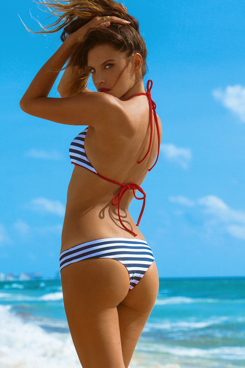KHONGBOON Prato Reversible Bottom Bikini Bottom | Blue and White/Red| Khongboon Prato Bottom