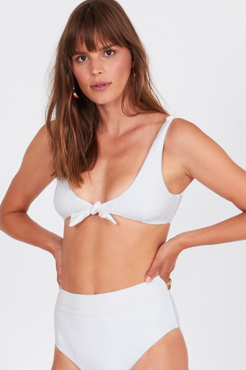 12fdd91903 AMUSE SOCIETY Quinn Front Knot Bralette Bikini Top - White - undefined  undefined ...