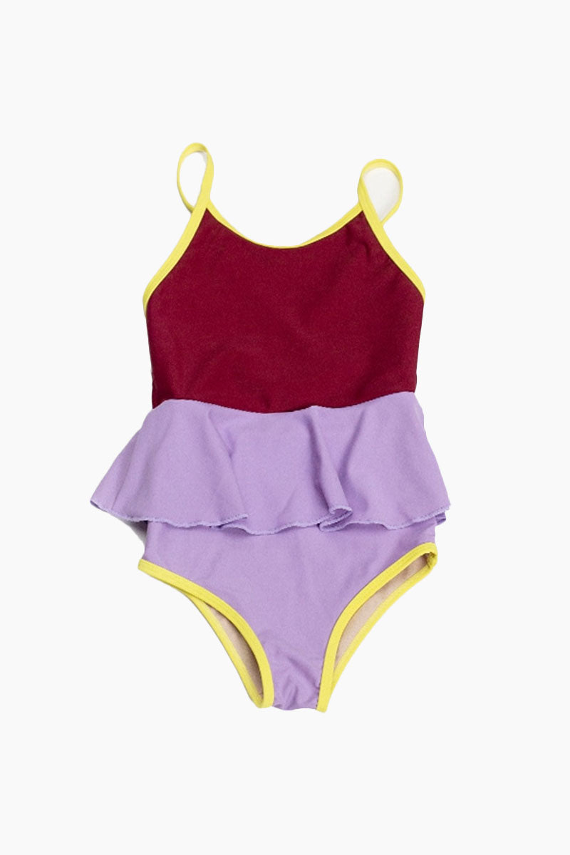 Mini Federica Color Block Ruffle Skirt One Piece Swimsuit (Kids) - Cordovan Red/Lilac Purple