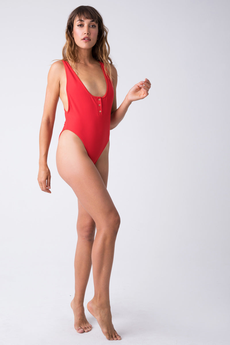 ee85a88ff3 ... FRANKIES BIKINIS Adele Ribbed Scoop High Cut One Piece Swimsuit - Red  Hot - undefined undefined