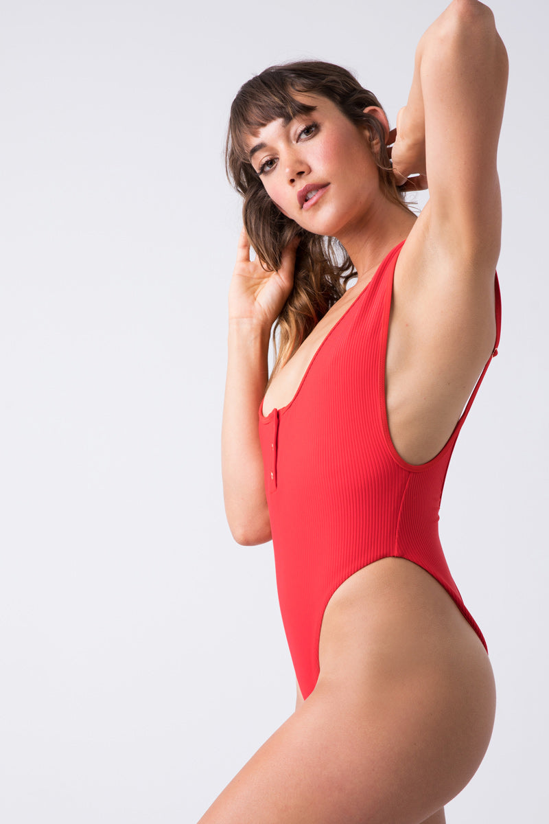 Adele Ribbed Scoop High Cut One Piece Swimsuit - Red Hot