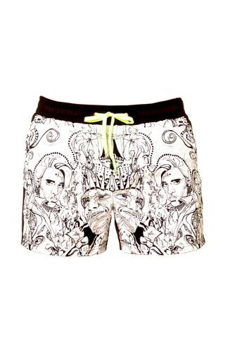 J.LIN Runner Shorts Swim Shorts | Graffiti Black/White| J. Lin Runner Shorts