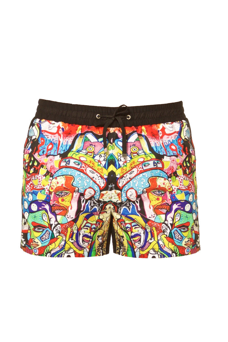 "J.LIN Runner Square Cut Swim Trunks - Graffiti Multicolor Print Mens Swim | Graffiti Multicolor| J. Lin Runner Square Cut Swim Trunks - Graffiti Multi Color. Flat Lay View. Shorter-length  Printed front panel  Two front forward seam pockets Back snap-fastening flap pocket  Elastic waistband  Drawstring with white mesh lining  Loose fit leg opening  100% Polyester  Model wears a M. Model measures 34"", height 6'1""/185cm."