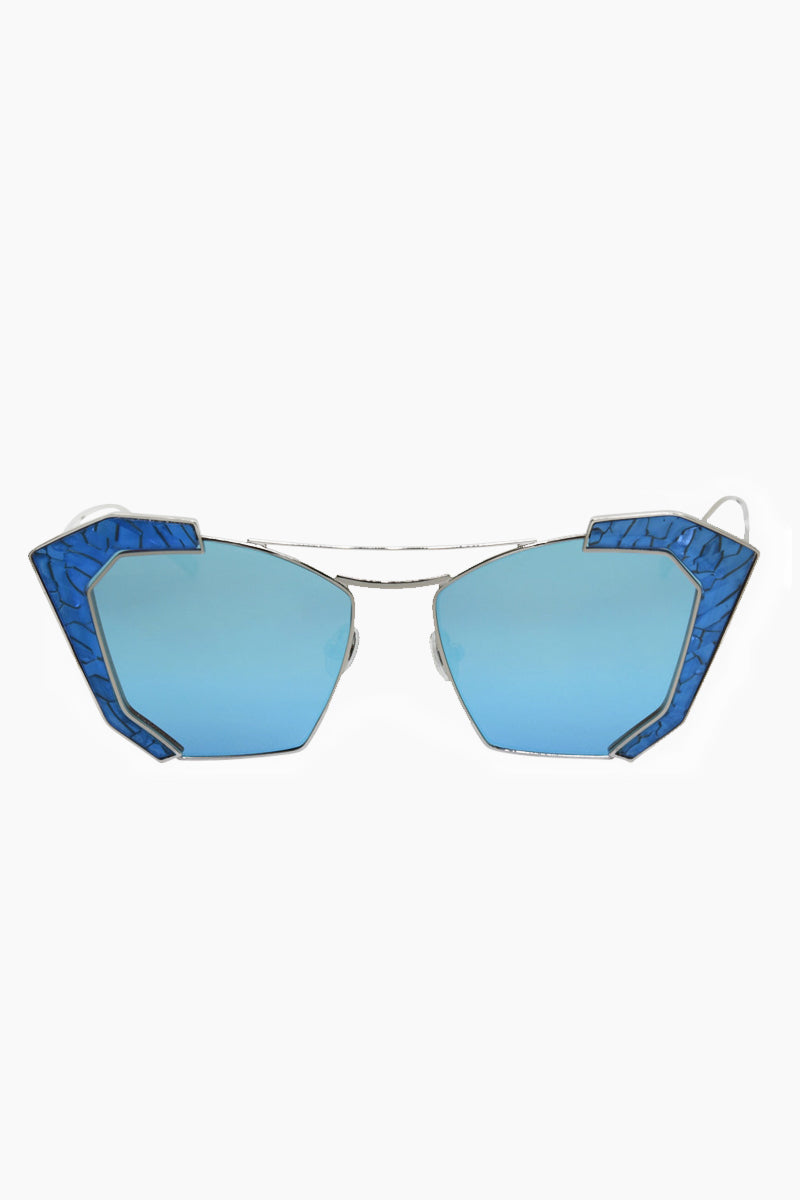 Salty Arrow Sunglasses - Silver/Blue