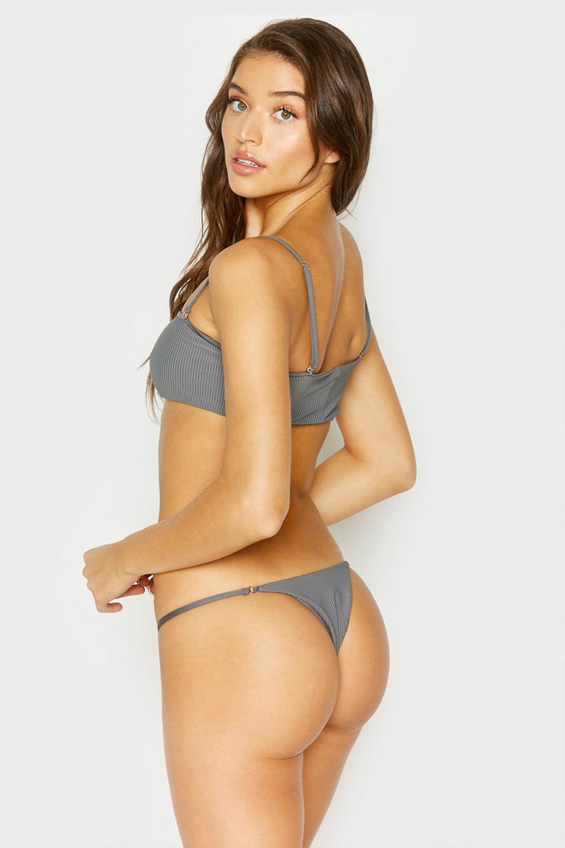 Sara Ribbed Thong Bikini Bottom - Caviar Grey