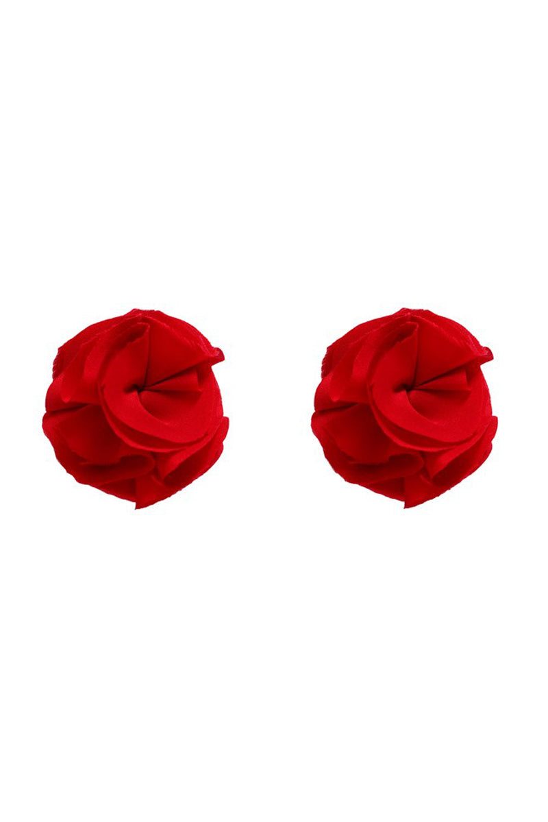 Gold Couture Rosette Tassels - Scarlet Red