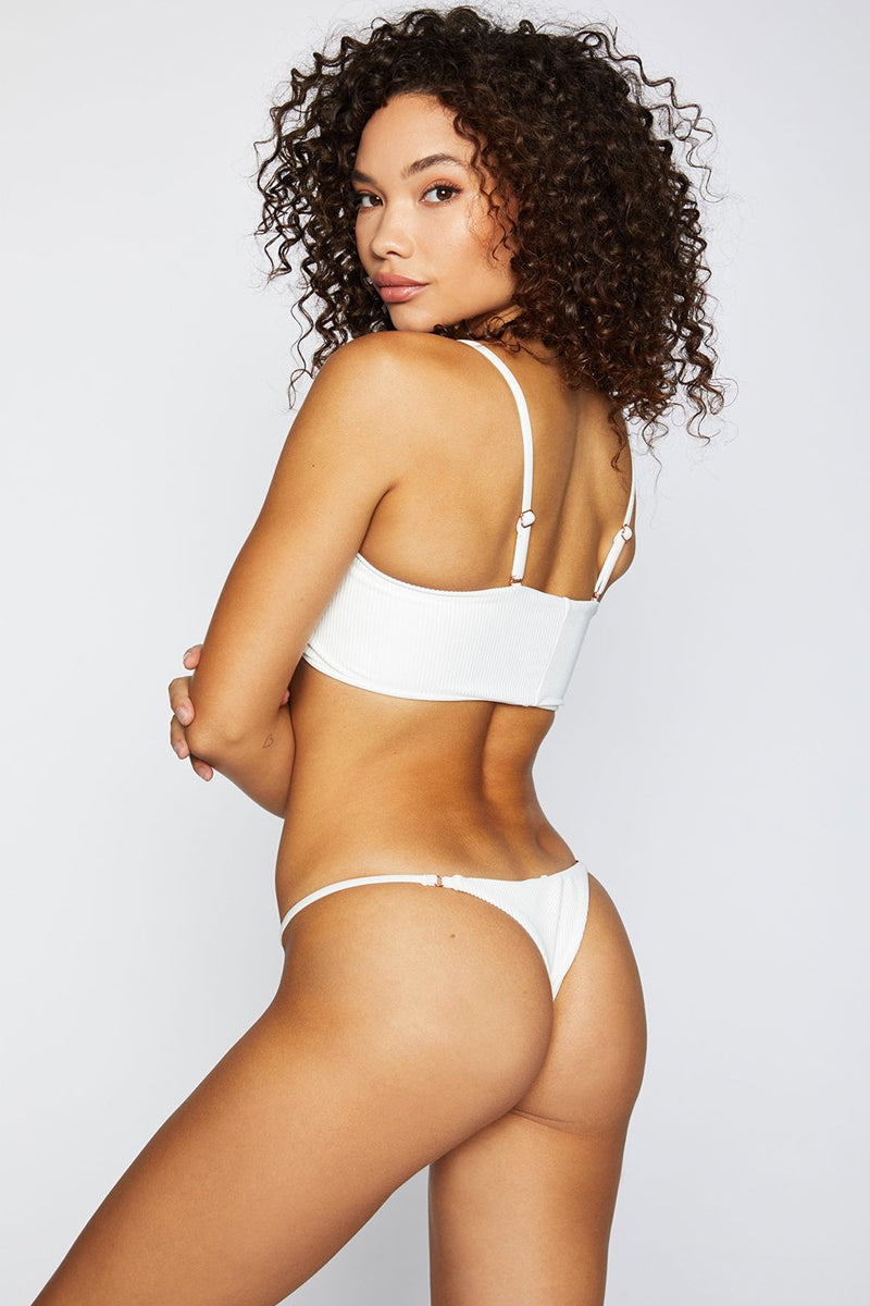 Sara Ribbed Thong Bikini Bottom - White