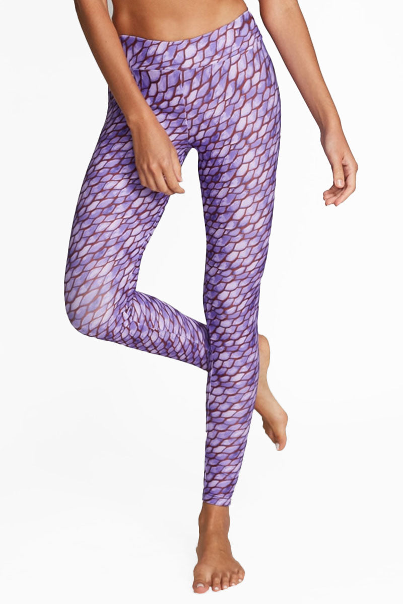 Marissa High Rise Leggings - Purple Snakeskin Print