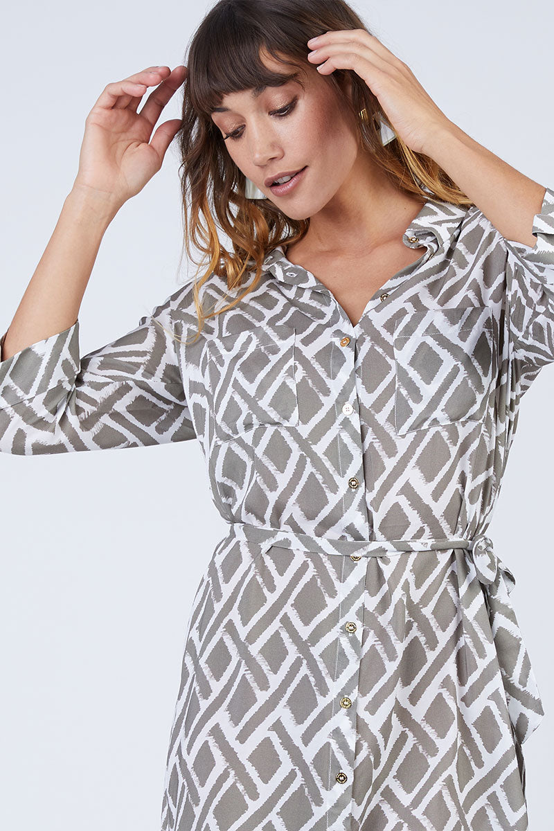 Relaxed Button Up Shirt Mini Dress - Taupe Brown Geometric Print
